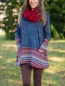 Geometric Print Long Sweater