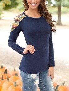 Round Neck Geometric Print Slim Navy Sweater