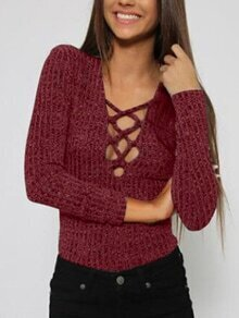 Lace-up Slim Knit Burgundy Sweater