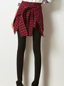 Elastic Waist Plaid Skirt Leggings