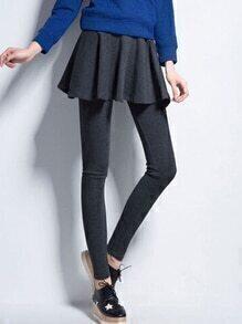 Elastic Waist Grey Skirt Leggings