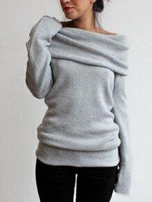 Draped Neck Long Sleeve Grey Sweater