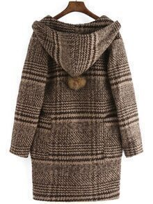 Hooded Plaid Single Button Pockets Coat