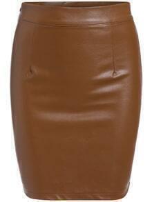 Zipper PU Bodycon Skirt