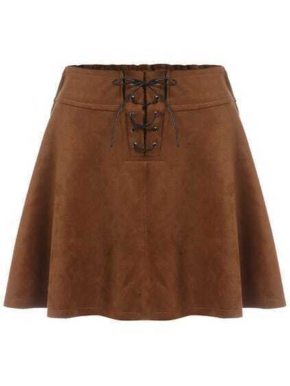 lace up a line khaki skirt