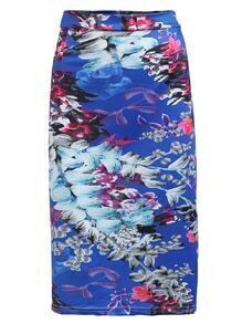 High Waist Florals Bodycon Skirt
