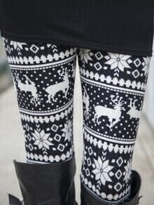 Black White Elastic Waist Deer Print Leggings