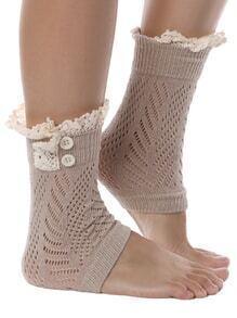 Contrast Lace Buttons Khaki Socks