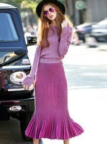 Purple Round Neck Long Sleeve Knit Two-pieces Dress
