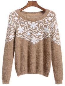 Crochet Mohair Khaki Sweater