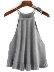 Halter Ruffle Sweater Grey Cami Top