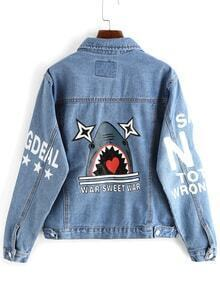 Lapel Shark Print Pockets Buttons Denim Coat