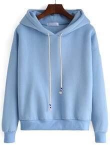 Hooded Drawstring Loose Blue Sweatshirt