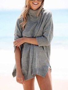 Turtleneck Slit Loose Sweater