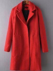 Lapel Zipper Pocket Woolen Red Coat