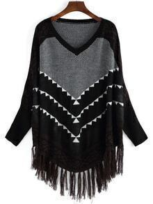 Black Geometric Print Tassel Sweater