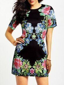 Black Short Sleeve Floral Dress