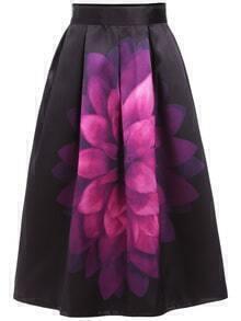 Florals Zipper Flare Purple Skirt