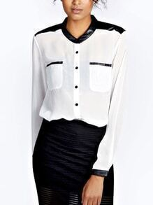Long Sleeve Contrast PU Pocket Shirt