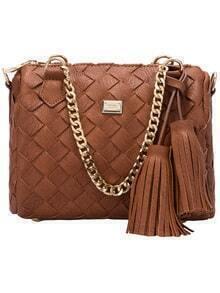 Yellow Weave Chain Tassel PU Shoulder Bag