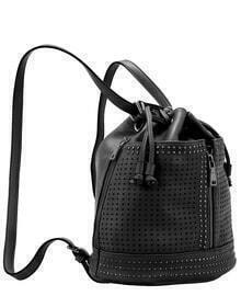 Black Hollow Bead PU Backpack