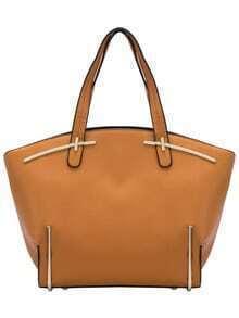 Yellow Metal Embellished PU Tote Bag