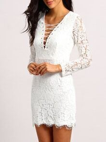 White Deep V Neck Lace Bodycon Dress