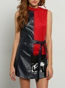 Red Navy Sleeveless Color Block PU Lether Dress
