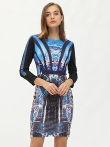 Multicolor Round Neck Printed Sheath Dress