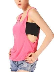 Women Rose Red Scoop Neck Cut Out Side Vest