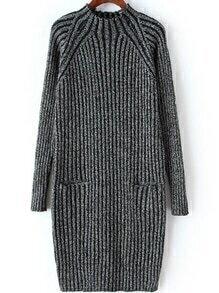 Mock Neck Vertical Striped Pockets Black Sweater Dress