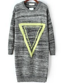 Triangle Print Slit Grey Sweater Dress