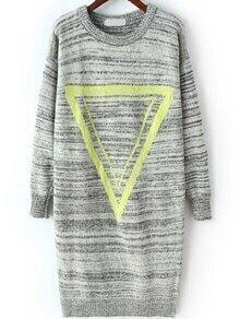 Triangle Print Slit Pale Grey Sweater Dress