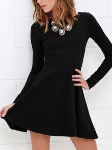 Long Sleeve A-Line Black Dress