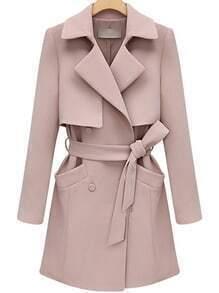 Lapel Double Breasted Belt Long Pink Coat