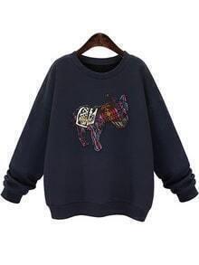Round Neck Bead Patch Navy Sweatshirt