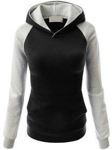 Hooded Raglan Sleeve Pocket Black Sweatshirt