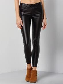 Buttons Skinny Black Leggings
