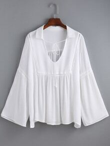 V Neck Bell Sleeve Loose White Blouse