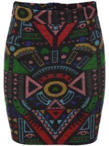 Tribal Print Zipper Bodycon Skirt