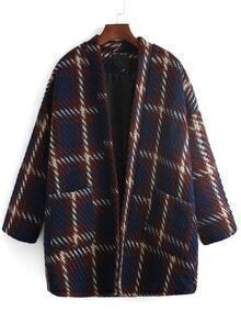 Plaid Pockets Loose Women Coat