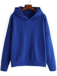 Hooded Loose Blue Sweatshirt