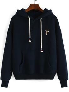 Hooded Drawstring Deer Embroidered Navy Sweatshirt