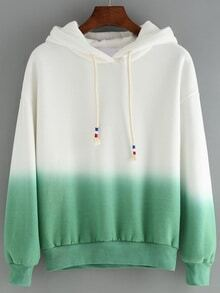 Hooded Drawstring Ombre Loose Sweatshirt