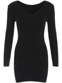V Neck Tight Sweater Dress