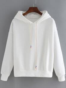 Hooded Drawstring Loose Sweatshirt