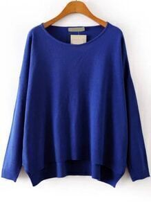 Round Neck High Low Royal Blue Sweater