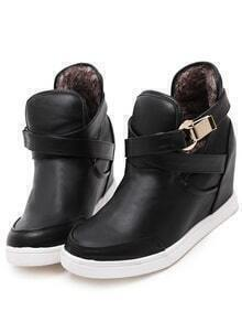 Black Buckle Strap PU Boots