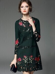 Green Round Neck Long Sleeve Embroidered Sequined Dress