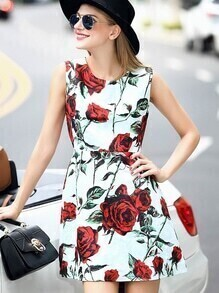 Multicolor Round Neck Sleeveless Rose Print Dress